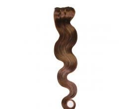 Extensions à clips cheveux ondulés Châtain Foncé