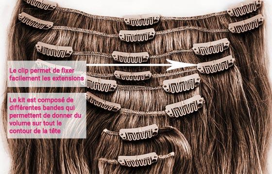 Extension à clip cheveux naturels